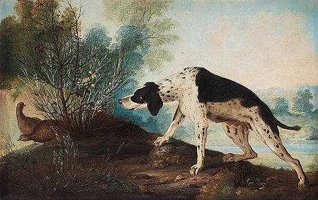 Johan pasch attributed to, lanscape with dog and birds.