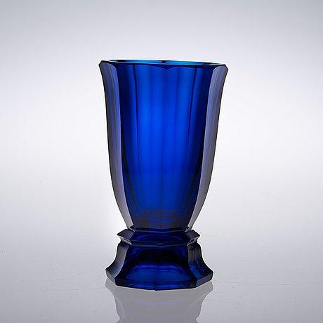 A Josef Hoffmann Blue Cut Glass Vase Wiener Werksttte 1910s
