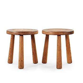 542. A pair of Axel Einar Hjorth 'Utö' pine stools, Nordiska Kompaniet, 1930's.
