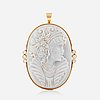 A carved opal cameo pendant/brooch with brilliant-cut diamonds total carat weight circa 0.40 ct.
