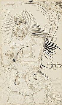 708. Ernst Josephson, Man with pipe.