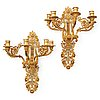 A pair of french 19th century gilt bronze five-light wall-lights.