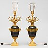 A pair of gilt and patinated bronze table lamps signed and dated by henry dasson 1877.