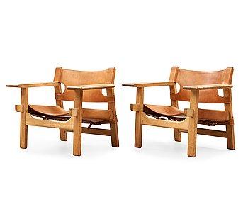 12. A pair of Børge Mogensen oak and leather 'Spanish Chair', Fredericia Stolefabrik, Denmark.