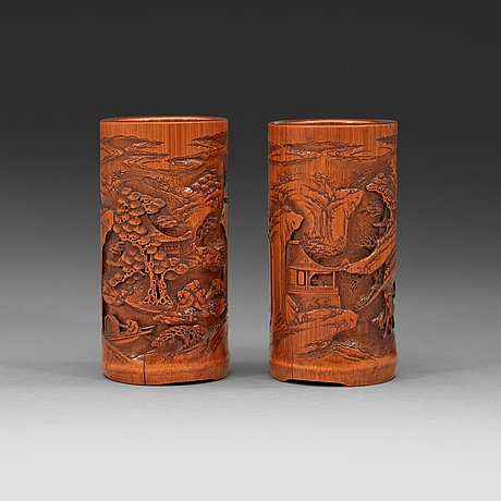 A pair of finely carved small bamboo brushpots. qing dynasty 19th century.