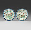 A pair of famille vere dishes, qing dynasty kangxi (1662-1722).