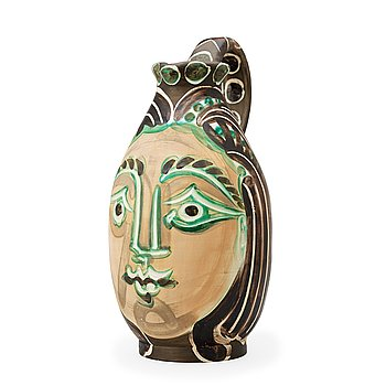370. A Pablo Picasso 'Femme du barbu' faience pitcher, Madoura, Vallauris, France 1953.