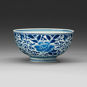 11. A blue and white bowl, Qing dynasty Kangxi (1662-1722). With Kangxis six characters mark and of the period.
