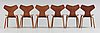 A set of six arne jacobsen 'grand prix' chairs, fritz hansen, denmark, probably 1950-60's.
