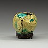 A yellow bisquit brush washer, qing dynasty 19th century.