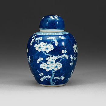 "3. A blue and white ""cracked ice"" jar, Qing dynasty 18th Century."