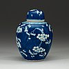 "A blue and white ""cracked ice"" jar, qing dynasty 18th century."