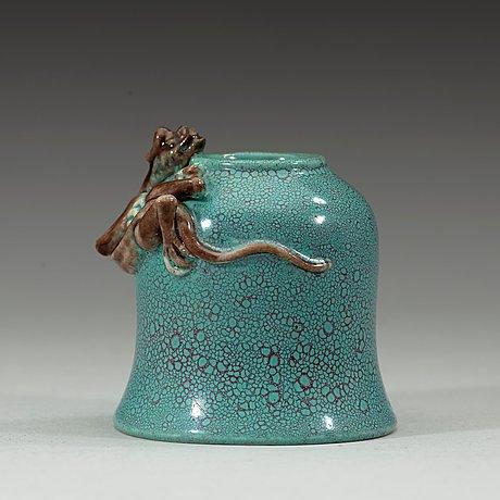 A robin's egg turquoise glazed brush washer, qing dynasty, 19th century.