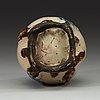 A stoneware peach-form water dropper, choson period, 18th century. korea.