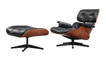 113. A Charles & Ray Eames 'Lounge Chair and ottoman', Herman Miller, probably 1950's-60's.