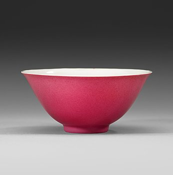 "88. A ""hot pink"" bowl, Qing dynasty, with Yongzheng six- character mark and of the period (1723-35)."