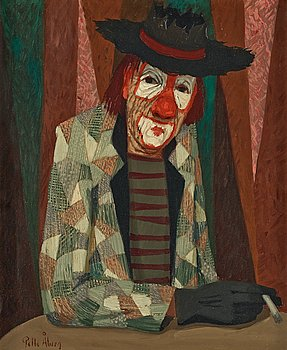 4. PELLE ÅBERG, Clown at coffee table.