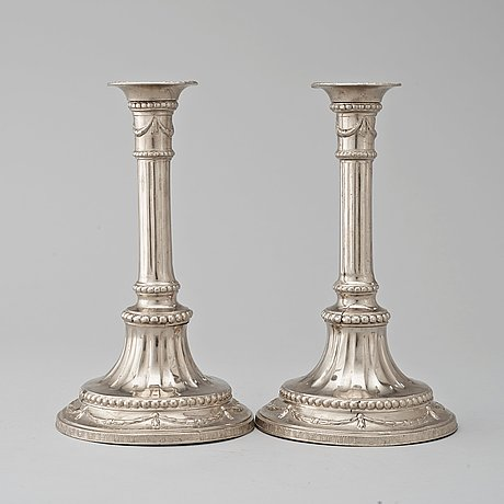 A pair of gustavian pewter candlesticks by j. sauer, stockholm 1791.