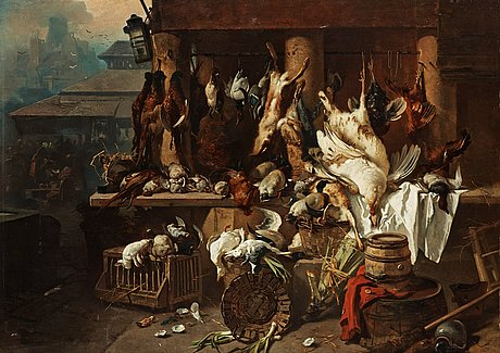 Charles hoguet, mechant stand with game.