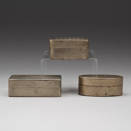 A set of three chines silver plated ink boxes, about 1900.