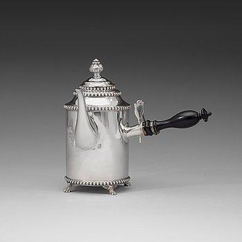 410. A Swedish 18th century silver coffee-pot, marks of Lars Boye, Stockholm 1792.