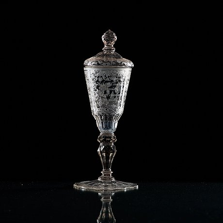 A german goblet with cover, 18th century.