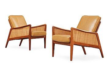 11. A pair of Peter Hvidt & Orla Mølgaard Nielsen 'FD-51' teak easy chairs, France & Daverkosen, Denmark 1950's.