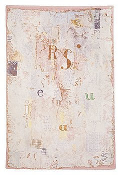 """116. CARPET. """"Vocal Fabric of the Singer Rosa"""". Machine woven pile. 275,5 x 181,5 cm. Signed Klee."""