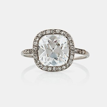 1105. A circa 3.50 ct cushion-cut diamond ring. Possibly made by Cartier. Quality circa ca E-F/VS2.