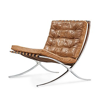 112. A Mies van der Rohe 'Barcelona' easy chair, Knoll International, probably 1950's-60''s.