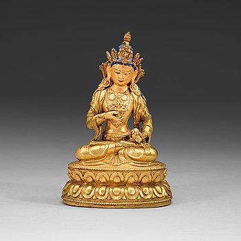 105. A partly gilt and painted Tibetan bronze figure of Vajrasattva, 18th Century.