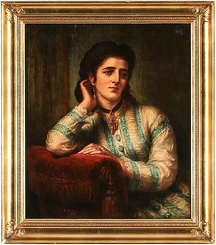 Bernardo amiconi, olja på duk, signerad daterad 1876.