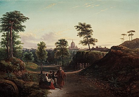 Hilda lindgren (brusewitz), italian landscape from via appia with st. peter's basilica and landscape with a castle in the distance.