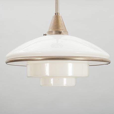 """Taklampa, """"sistrah-pendel"""", otto müller, sistrah-licht, megaphos. 1900-talets första hälft. höjd ca 55 cm."""
