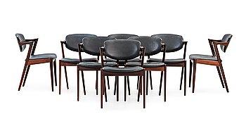 """6. KAI KRISTIANSEN, stolar 8 stycken """"model 42"""", Schou Andersen Møbelfabrik, 1950-60-tal."""