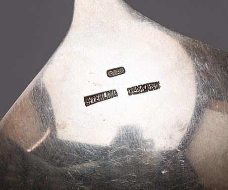 Carl m. cohr, salladsbestick, ett par,  fredericia, danmark 1950-60-tal, sterling och palisander.