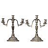 A pair of swedish rococo pewter three-light candelabra by a. wetterquist 1774.