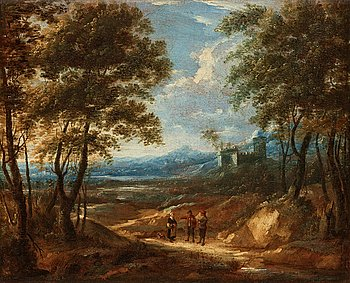 868. JACQUES D'ARTHOIS & DAVID TENIERS Tillskriven, Vandrande figurer nedanför borg.