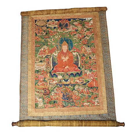 A fine thangka portraying tsong khapa, tibet, 18th/early 19th century.