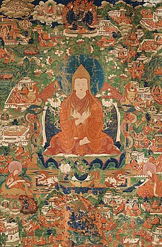 110. A fine thangka portraying Tsong Khapa, Tibet, 18th/early 19th century.
