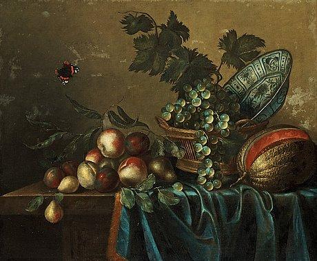Gillis gillisz. de bergh, still life with fruits and a butterfly.