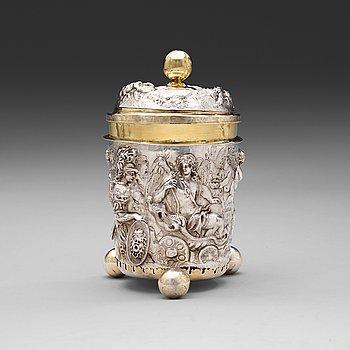 1007. BÄGARE med LOCK, av Israel Thelott, Augsburg (verksam 1654-1696). Barock.