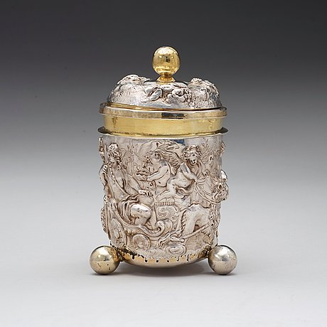 A german 17th century parcel-gilt beaker and cover, marks of israel thelott, augsburg (1654-1696).