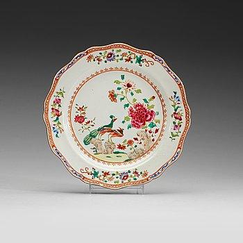"""201. A set of ten european subject, """"Double Peacock"""" dishes, Qing dynasty, Qianlong (1736-95)."""