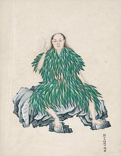 Albumblad, porträtt av den mytologiske pan gu, qingdynastin, 1800-tal.