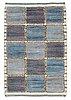 "Carpet. ""gyllenrutan blå"". knotted pile in relief. 140 x 94 cm. signed ab mmf bn."