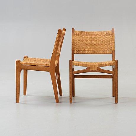 "Hans j wegner, stolar, 6 st ""ch-31"", carl hansen & son, danmark 1960-tal."