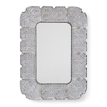 14. A Carl Fagerlund Swedish Modern cast glass mirror, Orrefors 1940's-50's.