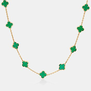 """750. COLLIER, Van Cleef & Arpels, """"Alhambra"""" med 20 st klövermotiv i grön kalcedon."""