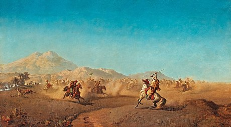 Henric ankarcrona, battle scene at the foot of the atlas mountains.